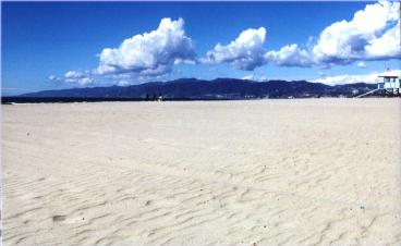 Santa Monica beach and mountains